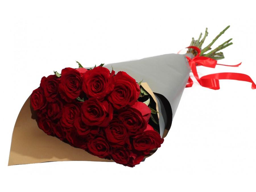 Букет роз из 17 розовых, сделать букет бутылок